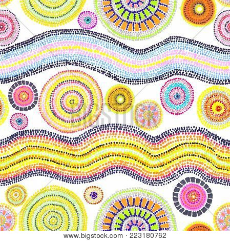 Ornament with dots, circles and waves. Contemporary art in australian aboriginal style. Seamless pattern. Hand painting