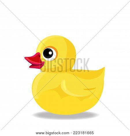 Cute yellow rubber or plastic duck toy for bath isolated on white background. Vector bathing baby toy illustration.