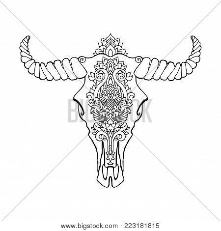 Mandala tattoo style dead cow head. Decorative ornament buffalo skull. Native indian art. Ethnic sketch design. Tribal boho style pattern. Vector illustration
