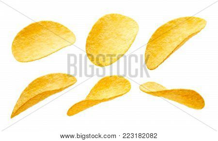 Potato chips isolated on white background - collection