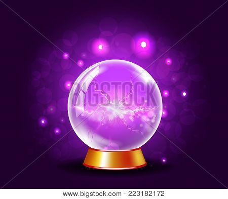 Shining crystal or plasma ball on sparkling bewitching mysterious violet background. Glowing magic sphere with light flashes effects. Magic and fortune teller web icon concept.