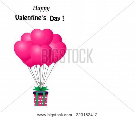 Cute template for Valenines day with copy space. Gift wrapped with red ribbon flying on heart shaped red bunch of helium balloons. Happy Valentine's day cartoon greeting card with space for text.