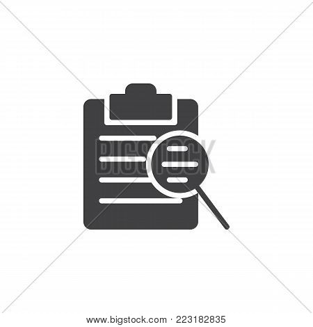 Clipboard checklist and magnifying glass icon vector, filled flat sign, solid pictogram isolated on white. Search document file symbol, logo illustration.