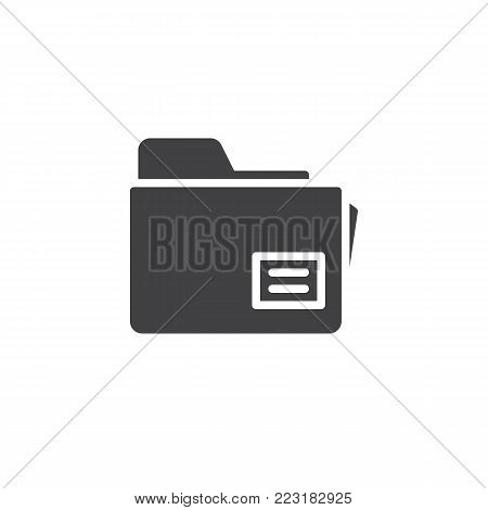 Folder, file, document icon vector, filled flat sign, solid pictogram isolated on white. Office doc symbol, logo illustration.