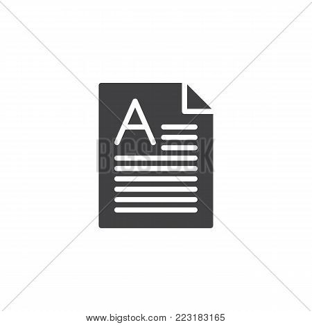 Perfect grade on a paper test icon vector, filled flat sign, solid pictogram isolated on white. Symbol, logo illustration.