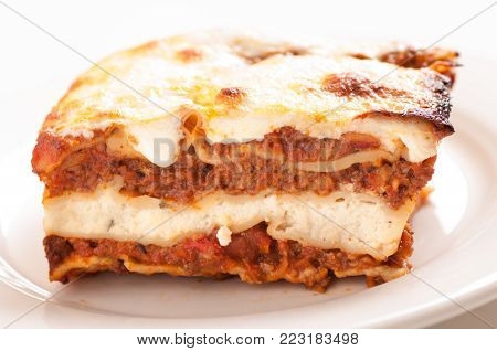 hand made lasagna, Italian Christmas or Thanksgiving meal, made from scratch