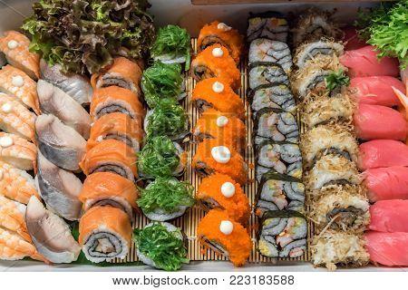 Sushi arrange in buffet line