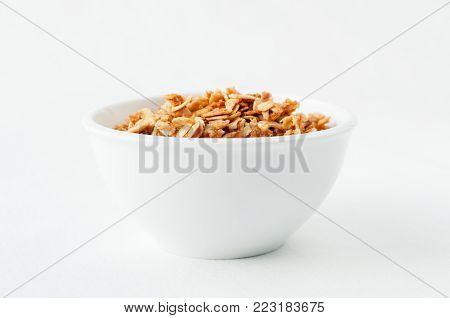 a tasty bowl of hand made granola, a heathy choice