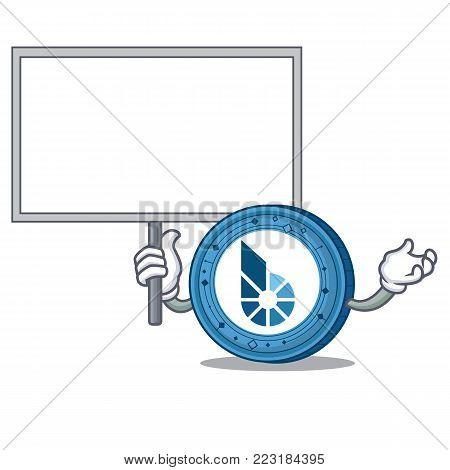 Bring board BitShares coin character cartoon vector illustration