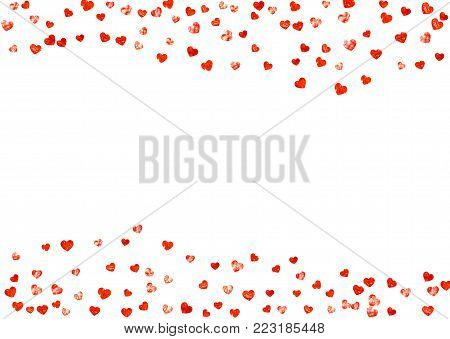 Heart border for Valentines day with red glitter. February 14th day. Vector confetti for heart border template. Grunge hand drawn texture. Love theme for poster, gift certificate, banner.
