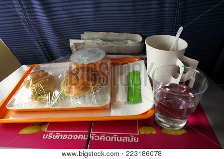 CHIANGMAI , THAILAND- MARCH 10 2007: Meal in Business Class of a Nok Air Airlines. In Flight from Chiangmai to Bangkok.