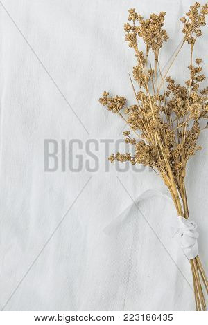 Bouquet of Dry Beige Brown Flowers Tied with Silk Ribbon on White Linen Fabric Background. Japanese Style. Easter Mother's Day. Elegant Female Styled Stock Photo for Website Blog Social Media