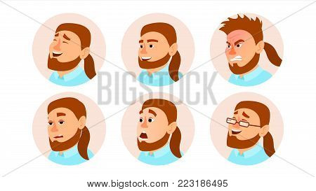 Character Business People Avatar Vector. Fat Bearded Man Face, Emotions Set. Creative Avatar Placeholder. Cartoon, Comic Illustration