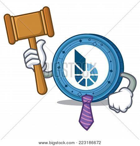 Judge BitShares coin mascot cartoon vector illustration