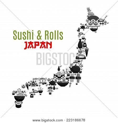 Sushi and rolls poster in Japan map shape for Japanese cuisine restaurant design. Vector symbol combined of fish sushi rolls, ramen noodles soup or caviar maki, tuna and salmon sashimi with chopsticks