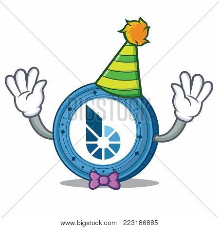 Clown BitShares coin mascot cartoon vector illustration