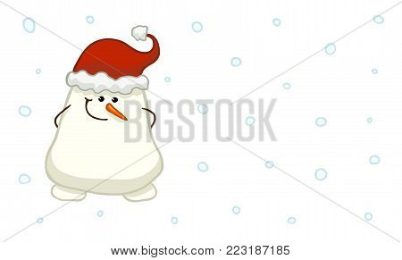 Cute shy snowman with hands, hidden behind his back. Vector illustration in childish style
