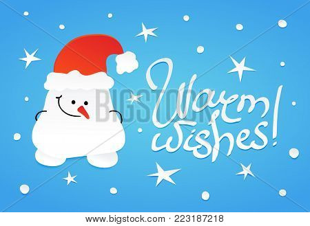 Cute shy snowman with hands, hidden behind his back. Warm wishes lettering, Vector illustration in paper cutting out style