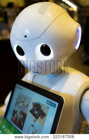 Hokkaido, Japan - October 18, 2017 :  Softbank's Pepper Robot in Sapporo. It is a humanoid robot named Pepper, which is claimed can identify human emotions and respond to them. It is used AI technology.