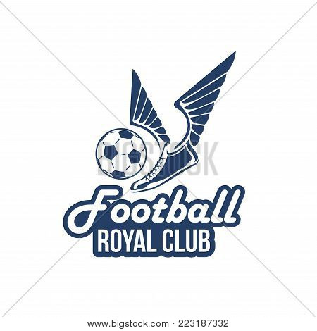 Football royal club icon or badge design template of soccer ball, and shoe or player boot with victory wings. Vector isolated symbol for football college league team or soccer cup championship match