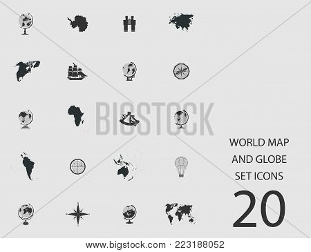 World map and globe set of flat icons. Simple vector illustration