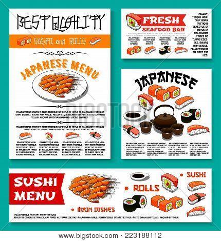 Sushi bar menu banner or poster templates set for Japanese seafood restaurant cuisine. Vector sushi rolls, green tea or tempura shrimp and fish, salmon maki or guncan and noodle soup with tuna sashimi