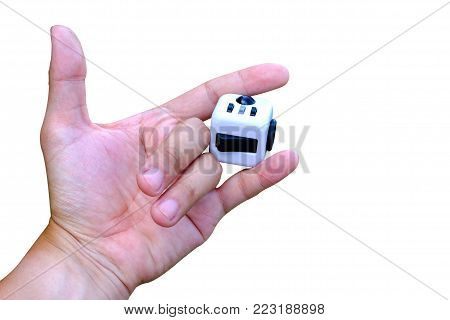 Fidget Cube stress reliever, fingers toy, white. (relax)