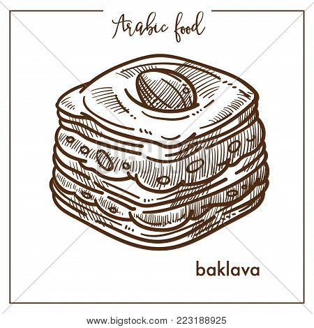 Delicious square piece of baklava from Arabic food. Confectionery made of puff pastry with nuts in sweet syrup or honey isolated cartoon monochrome flat vector illustration on white background.