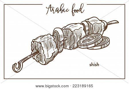 Delicious shish with onion rings on metal skewer from traditional Arabic food. Meat cubes of mutton on stick cooked on open fire isolated cartoon monochrome vector illustration on white background.