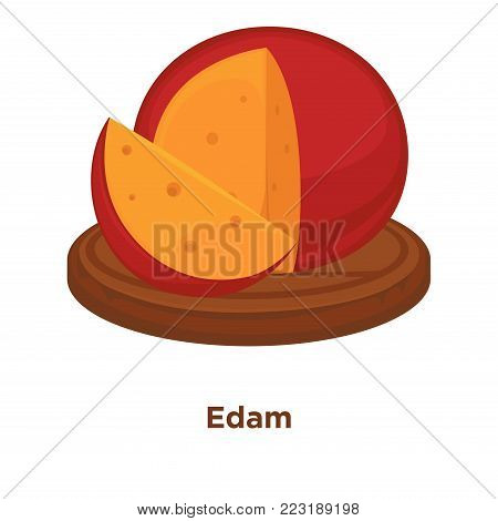 Cheese Edam sort vector flat isolated icon. Sliced and whole piece of Dutch Edam cheese in red wax cover on wooden round platter for farm market or store design template