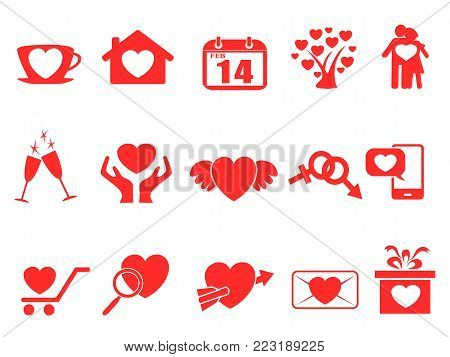 isolated red valentine day icons set from white background