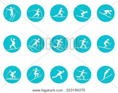 isolated winter sport round button icons set from white background