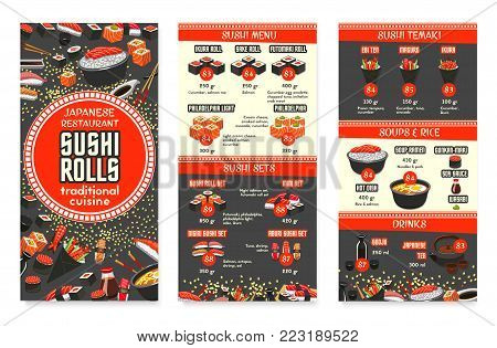 Japanese cuisine restaurant menu template for Asian food cafe. Vector price for sushi, fish rolls sets, rice or ramen noodle soup and salmon sashimi, eel or tuna maki and Japanese tea and chopstick