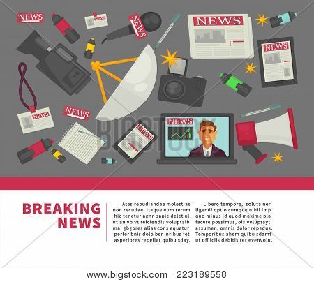 Breaking news poster and journalist profession working equipment flat vector poster. Vector icons of TV anchorman broadcast, reporter video news television camera, microphone and pen with notepad