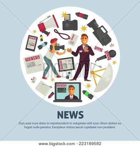 News and journalism profession equipment poster of journalist working tools for news television broadcast. Vector icons of TV anchorman with reporter video camera, microphone and pen with notepad