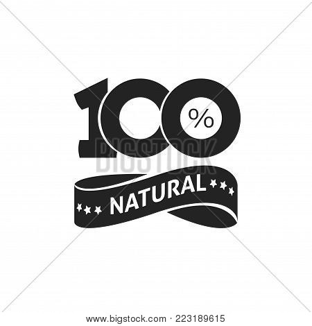 100 percent natural vector green label black and white stamp or rubber isolated, 100 percent natural sticker or logo symbol design, number 100