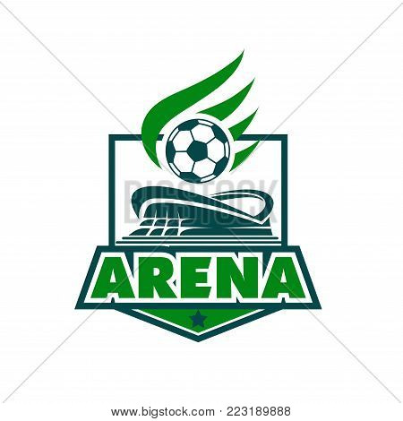 Football college league or football league team badge design template of ball with wings over arena stadium. Vector isolated icon of green arena for soccer cup championship or football fan club