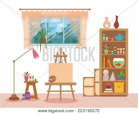 Art studio interior colorful vector illustration. Painter artist workshop room with window and tools canvas, easel , paints, palette, brushes, floor lamp, shelves with tools, books, pencils, plants
