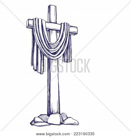 Christian wooden cross. Easter . symbol of Christianity hand drawn vector illustration sketch.