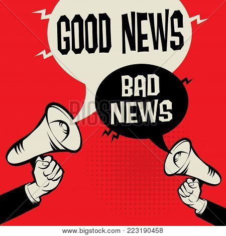 Megaphone Hand business concept with text Good News versus Bad News, vector illustration