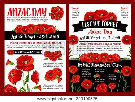Anzac Day memory banner of poppy flower and black ribbon with Lest We Forget and We Will Remember text. Red floral wreath poster for Australian and New Zealand Army Force Remembrance Day design
