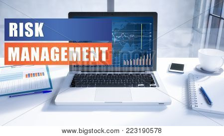Risk Management text concept with modern laptop screen in office environment. 3D render illustration business text concept.