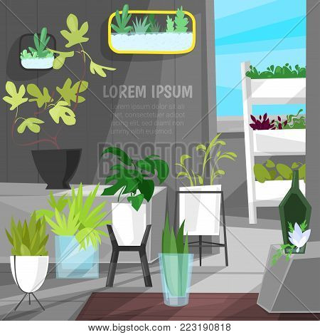 Plants in flowerpots vector potted houseplants indoor botanic cactuses aloe for house interior decoration with floral collection of botanical garden illustration isolated on white background.