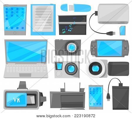 Gadget vector digital device with display of laptop or tablet and camera of smartphone or phone electronic equipment gamepad video recorder set illustration isolated on white background.