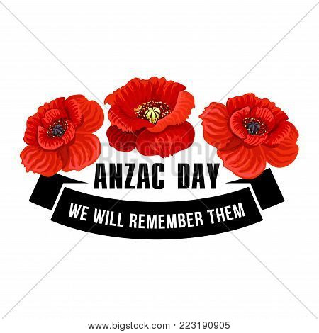 Anzac day flower symbol red poppy vector photo bigstock anzac day flower symbol of red poppy black ribbon banner with we will remember them mightylinksfo Image collections