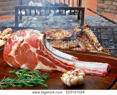 Tomahawk rib beef steak raw