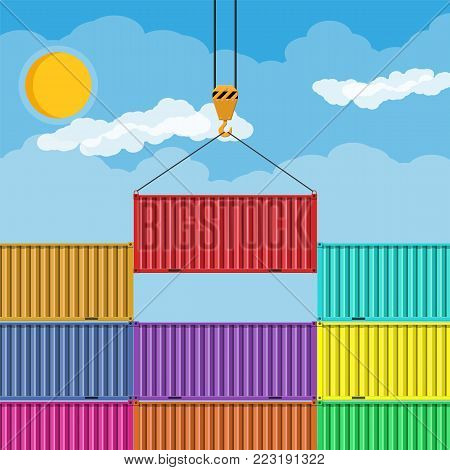 Crane hook lifts metal cargo container. Freight cargo transportation and sea port logistics. Vector illustration in flat style