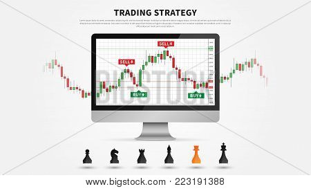 Forex Trading vector illustration on black background. Forex trading on the candlestick chart graphic design.