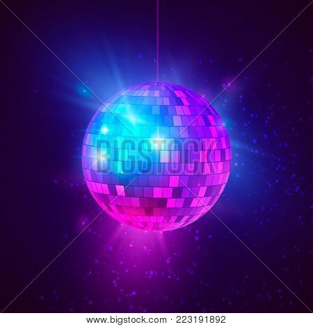 Disco ball with bright rays and bokeh. Music and dance night party background. Abstract night club retro background 80s and 90s. Vector illustration