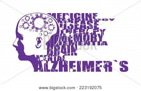 Abstract illustration of a human head . Woman face silhouette. Medical theme creative concept. Alzheimers disease tags cloud. Damaged gears in brain as symbol of mental disease